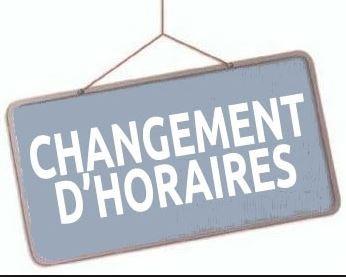 Horaire modifié Samedi 28 Septembre
